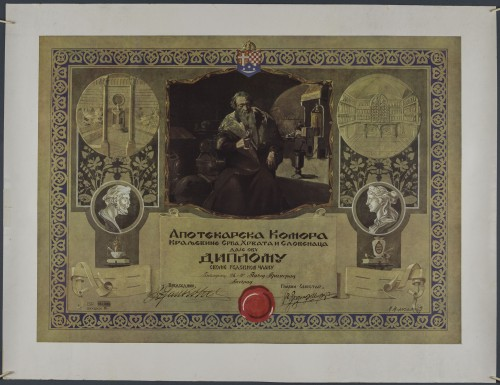 Povelja redovnog člana Apotekarske komore Kraljevine Srba, Hrvata i Slovenaca Pavla Primorca