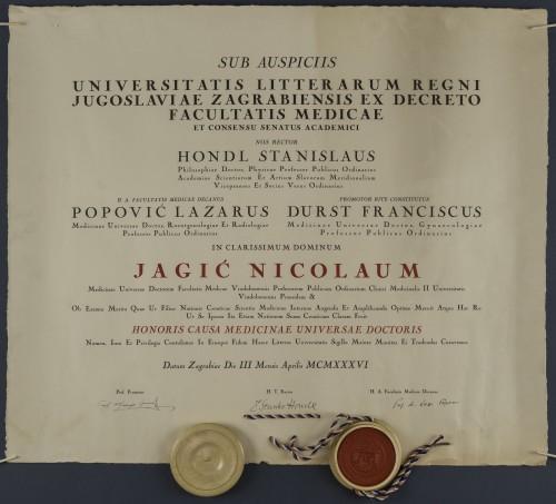 Diploma doktora medicine Nikole Jagića