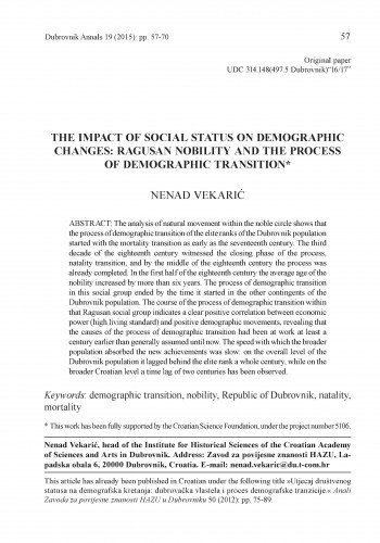 The impact of social status on demographic changes: Ragusan nobility and process of demographic transition