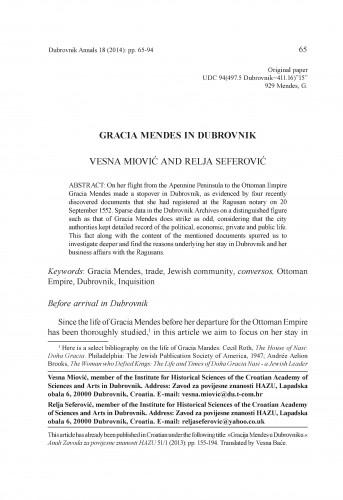 Gracia Mendes in Dubrovnik : Dubrovnik Annals