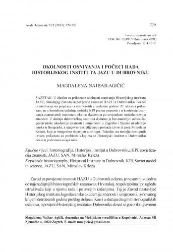 Okolnosti osnivanja i počeci rada Historijskog instituta JAZU u Dubrovniku : Anali Zavoda za povijesne znanosti Hrvatske akademije znanosti i umjetnosti u Dubrovniku