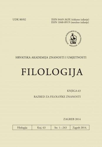 Knj. 63(2014) : Filologija : časopis Razreda za filološke znanosti Hrvatske akademije znanosti i umjetnosti