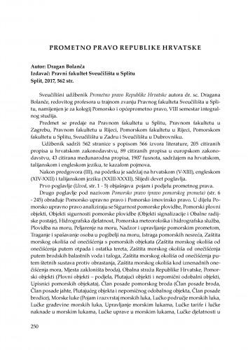 Dragan Bolanča, Prometno pravo Republike Hrvatske, izdavač: Pravni fakultet Sveučilišta u Splitu, 2017 : [prikaz knjige]