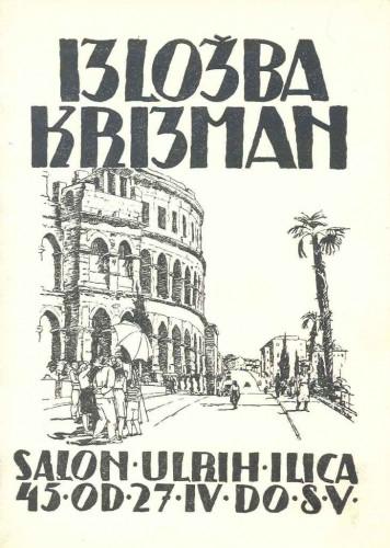 Pozivnica na izložbu Tomislava Krizmana, Salon Ullrich, Zagreb, 27.4. do 8.5.1948.
