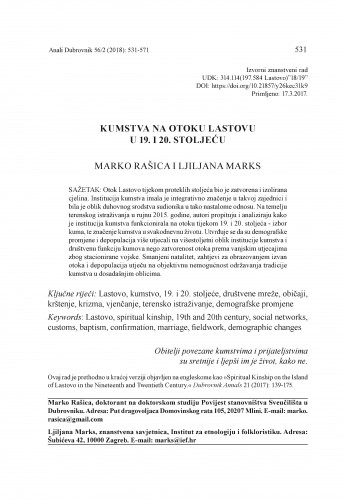 Kumstva na otoku Lastovu u 19. i 20. stoljeću / Marko Rašica, Ljiljana Marks