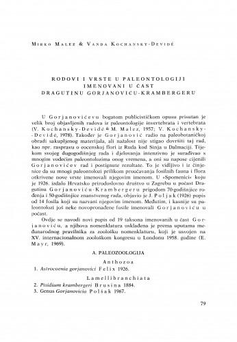 Rodovi i vrste u paleontologiji imenovani u čast Dragutinu Gorjanoviću-Krambergeru / Mriko Malez, Vanda Kochansky-Devidé