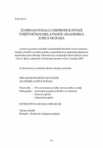 Izabrani podaci o reproduktivnoj umjetničkoj djelatnosti akademika Jurice Muraija