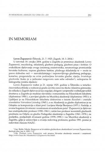 In memoriam Lovro Županović (Šibenik, 21. 7. 1925.-Zagreb, 18. 3. 2004.)