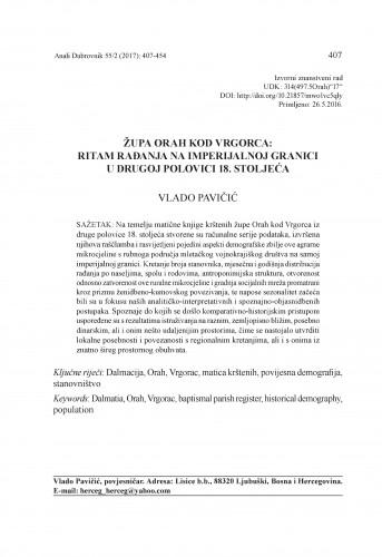 Župa Orah kod Vrgorca: ritam rađanja na imperijalnoj granici u drugoj polovici 18. stoljeća / Vlado Pavičić