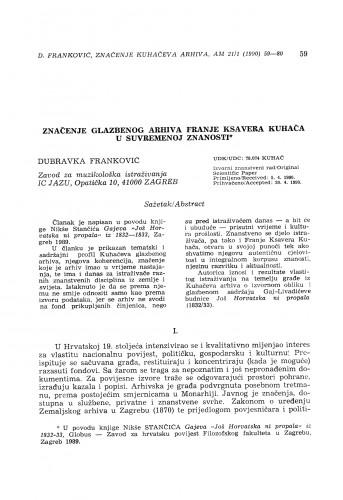 Značenje glazbenog arhiva Franje Ksavera Kuhača u suvremenoj znanosti