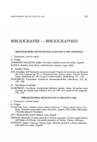 Bibliographia musicologica Croatica: Addenda 1989 & 1990.