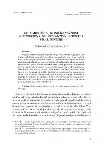 Epidemiološka i klinička važnost nefunkcionalnih ekspanzivnih procesa selarne regije