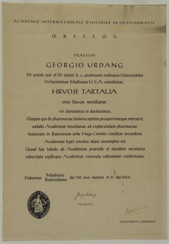 Povelja dodijeljena Hrvoju Tartalji
