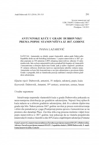 Antuninske kuće u gradu Dubrovniku prema popisu stanovništva iz 1817. godine : Anali Zavoda za povijesne znanosti Hrvatske akademije znanosti i umjetnosti u Dubrovniku