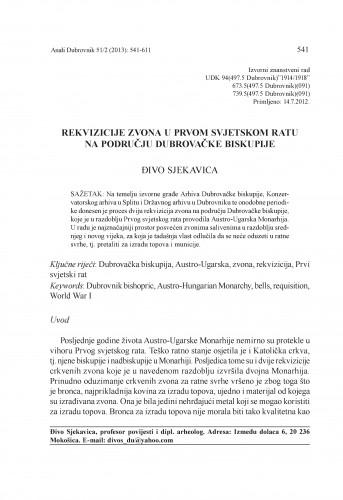Rekvizicije zvona u Prvom svjetskom ratu na području Dubrovačke biskupije / Đivo Sjekavica