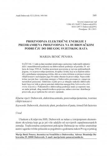 Proizvodnja električne energije i prehrambena proizvodnja na dubrovačkom području do Drugog svjetskog rata / Marija Benić Penava
