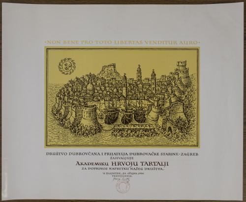 Zahvalnica Društva Dubrovčana Hrvoju Tartalji
