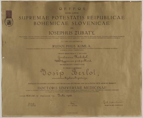 Diploma doktora medicine Josipa Berlota