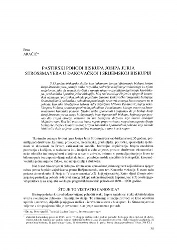 Pastirski pohodi biskupa Josipa Jurja Strossmayera u Đakovačkoj i Srijemskoj biskupiji