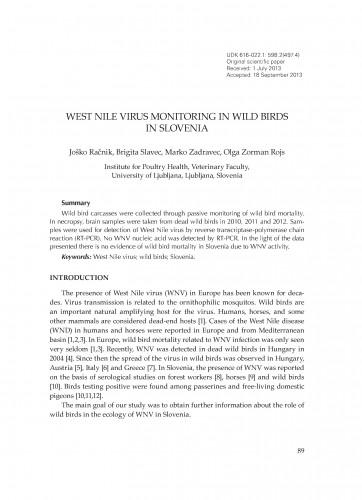 West Nile virus monitoring in wild birds in Slovenia