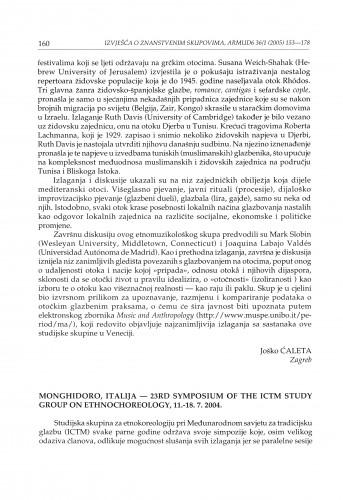 Monghidoro, Italija - 23rd Symposium of the ICTM Study group on ethnochoreology, 11.-18. 7. 2004. : [izvješće]