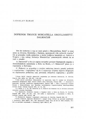 Doprinos trojice Moscatella orguljarstvu Dalmacije