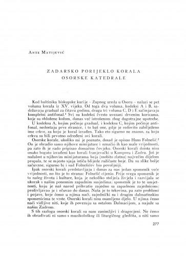 Zadarsko porijeklo korala osorske katedrale