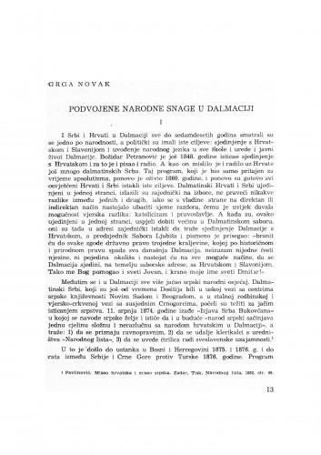 Podvojene narodne snage u Dalmaciji