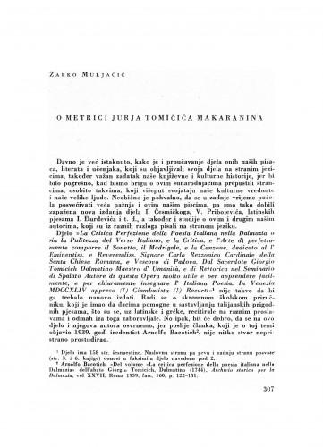 O metrici Jurja Tomičića Makaranina