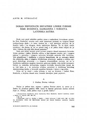 Dosad nepoznate hrvatske lirske pjesme Šime Budinića Zadranina i njegova latinska satira