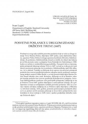 Posvetne poslanice u drugom izdanju Držićeve Tirene (1607.) / Ivan Lupić