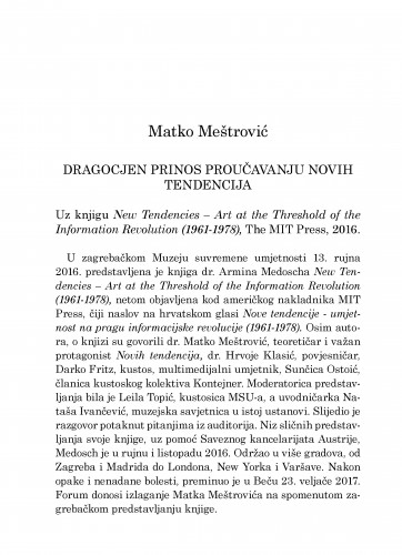 Dragocjen prinos proučavanju novih tendencija : uz knjigu New Tendencies - Art at the Threshold of the Information Revolution (1961-1978), The MIT Press, 2016.