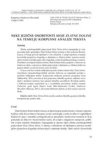 Neke jezične osobitosti Moje Zlatne doline na temelju korpusne analize teksta / Katarina Aladrović-Slovaček, Lidija Cvikić