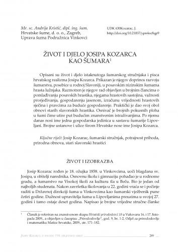Život i djelo Josipa Kozarca kao šumara