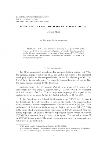 Some results on the Schwartz space of  Г\G