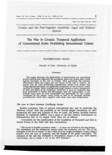 The war in Croatia : Temporal application of conventional rules prohibiting international crimes : Vladimir Đuro Degan - zbirka knjiga i članaka