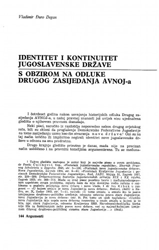 Identitet i kontinuitet jugoslavenske države : S obzirom na odluke Drugog zasjedanja AVNOJ-a
