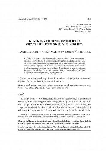 Kumovi na krštenju i svjedoci na vjenčanju u Istri od 15. do 17. stoljeća / Danijela Doblanović, Marija Mogorović Crljenko