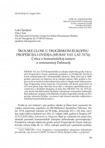Školske glose u trogirskom rukopisu Propercija i Ovidija (MS BAV Vat. lat. 5174): Crtica o humanističkoj nastavi u renesansnoj Dalmaciji / Luka Špoljarić