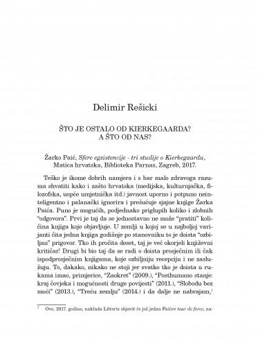 Što je ostalo od Kierkegaarda? A od nas? : Žarko Paić, Sfere egzistencije - tri studije o Kierkegaardu, Matica hrvatska, Biblioteka Parnas, Zagreb, 2017.