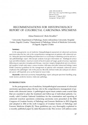 Recommendations for histopathology report of colorectal carcinoma specimens / Alma Demirović, Božo Krušlin