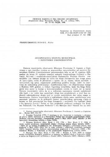 Čevapovićeva Statuta municipalia i jozefinsko zakonodavstvo