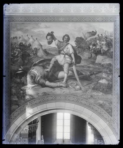 Seitz, Alexander Maximilian: Katedrala sv. Petra (Đakovo) : David i Golijat, freska u brodu [C. Angerer & Göschl]