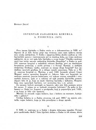 Inventar zadarskog kirurga A. Fiorinija (1675)
