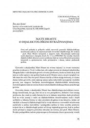 Mate Hraste o dijalektološkim istraživanjima