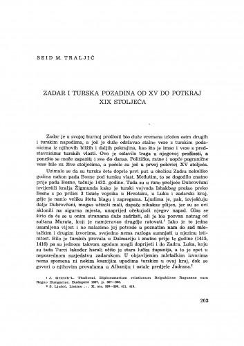 Zadar i turska pozadina od XV do potkraj XIX stoljeća