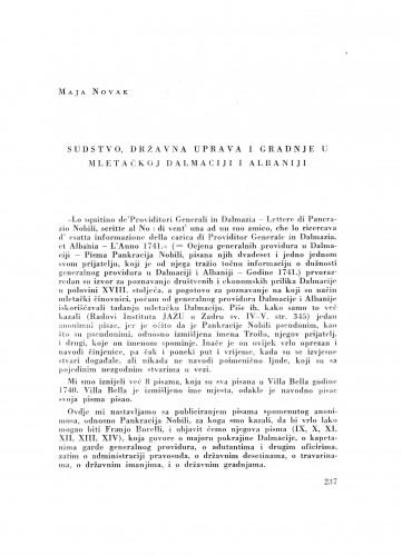 Sudstvo, državna uprava i gradnje u Mletačkoj Dalmaciji i Albaniji