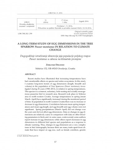 A long-term study of egg dimensions in the Tree Sparrow Passer montanus in relation to climate change / Zdravko Dolenec