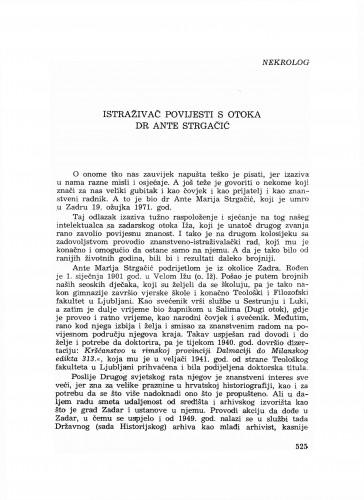 Istraživač povijesti s otoka dr. Ante Strgačić : nekrolog