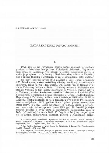 Zadarski knez Pavao Zrinski
